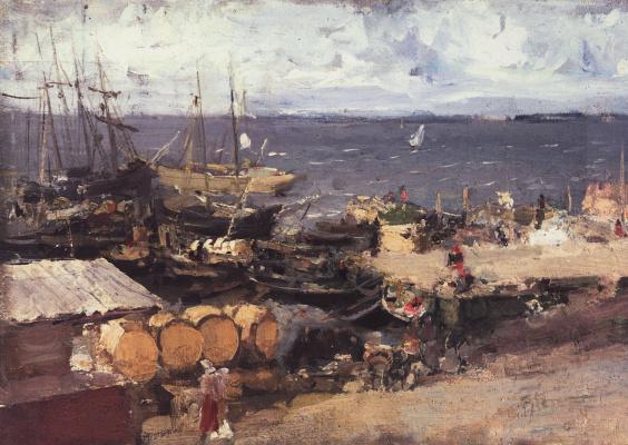 Konstantin Korovin. Arkhangelsk port on the Dvina river