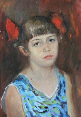 Александр Викторович Беляков. Portrait of a girl with red bows