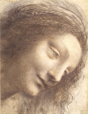 "Leonardo da Vinci. Head of the Madonna (Sketch for the painting ""Madonna and child with St. Anne"")"