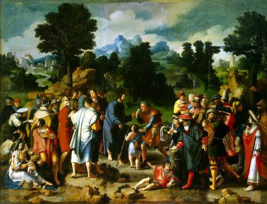 Lucas van Leiden (Luke of Leiden). Healing of blind man of Jericho