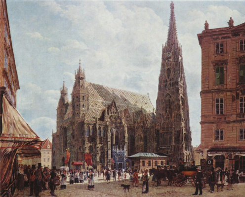 Rudolf Ritter von Alt. A view of the Cathedral of St. Stephen