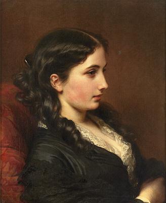 Franz Xaver Winterhalter. Profile of young woman in armchair