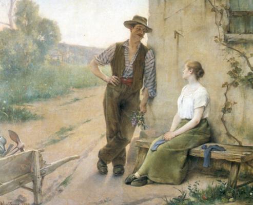 Анри Адриен Тано. Крестьянская пара на ферме