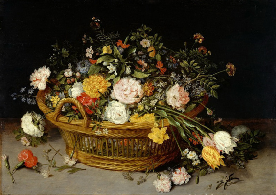 Jan Brueghel the Younger. Basket with flowers