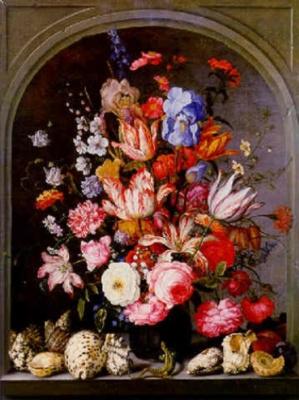 Балтазар ван дер Аст. Натюрморт с вазой с цветами в нише, раковинами и ящерицей