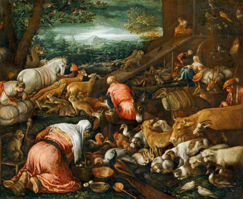 Jacopo da Ponte Bassano. Entrance of animals into Noah's ark