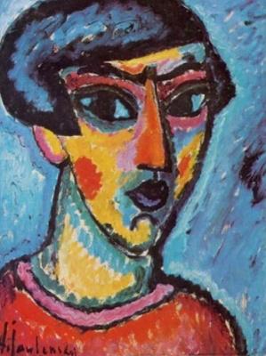 Алексей Георгиевич Явленский. Автопортрет на голубом фоне