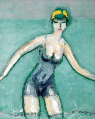Bather in hat
