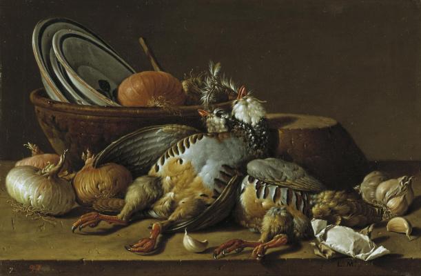 Луис Мелендес. Натюрморт с серыми куропатками, луком, чесноком и посудой