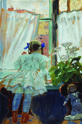 Boris Mikhailovich Kustodiev. Window. Portrait Of I. B. Kustodieva