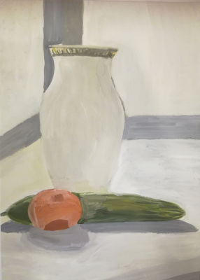 Polina. Sketch with a vase