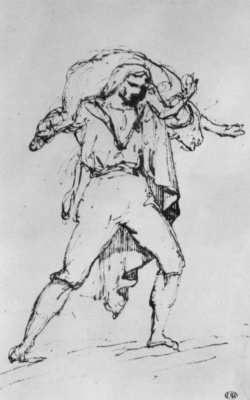 Théodore Géricault. Roman butcher carrying a calf on his shoulders