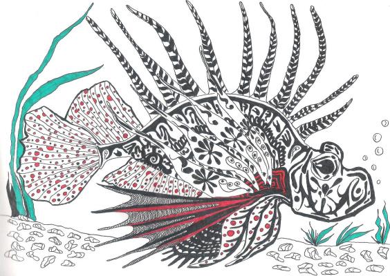 "Николай Николаевич Оларь. Series of stylized drawings: ""Underwater fantasy"" (5)"