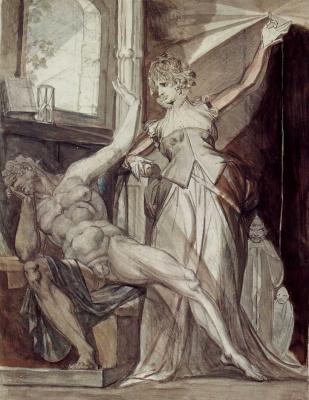 Johann Heinrich Fuessli. Krimhilda shows Gunther in prison, ring of the Nibelungs