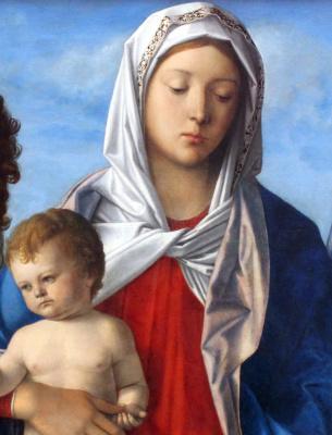 Джованни Беллини. Мадонна с младенцем, Иоанном Крестителем и Святой Елизаветой. Фрагмент