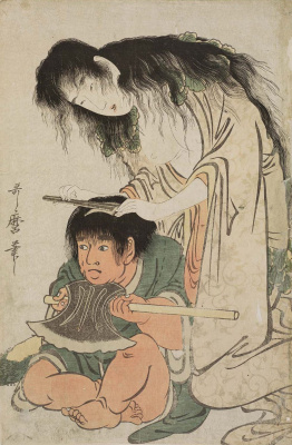 Kitagawa Utamaro. Yamauba shaves his head Kintaro