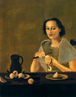 A young girl cuts an Apple