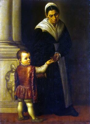 Моретто да Брешиа. Портрет мальчика с няней