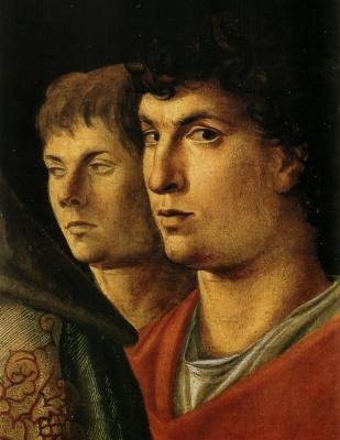 Giovanni Bellini. Representation of the baby Jesus in the temple. Fragment