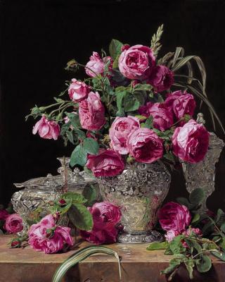 Ferdinand Georg Waldmüller. Rose and silver utensils