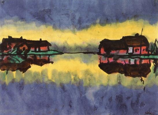 Emil Nolde. Farm flooded swamp