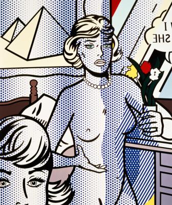 Roy Lichtenstein. Nude with pyramid