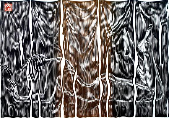 "Vladimir Kataev. ""Zaves-5"", 45 x 66, engraving on linoleum, 2011"