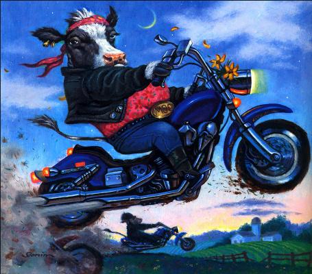 Дэвид Слоним. Корова на мотоцикле