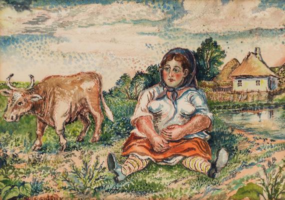 Давид Давидович Бурлюк. Женщина и корова