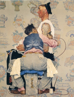 """Norman Rockwell. Tattoo artist. Cover for the magazine """"The Saturday Evening Post"""" (March 4, 1944)"""
