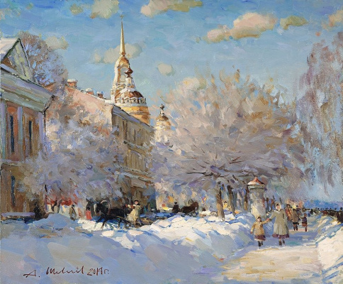 Alexander Victorovich Shevelyov. Rybinsk. Embankment in winter. Oil on canvas 50 x 60 cm 2014