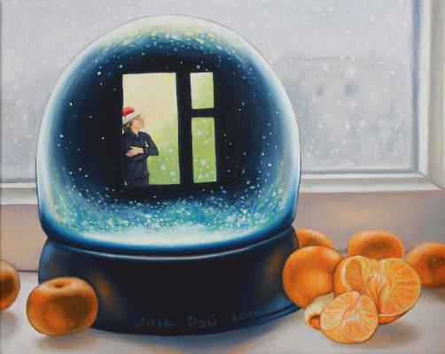 Lisa Ray. Snow outside the window