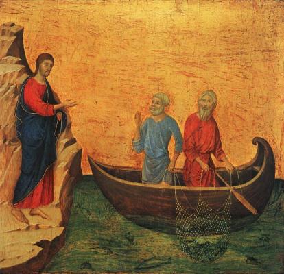 Duccio di Buoninsegna. The calling of the apostles Peter and Andrew