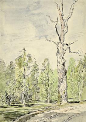 Исаак Ильич Левитан. Сухое дерево у дороги