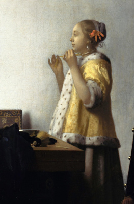 Jan Vermeer. Girl with a pearl necklace. Fragment