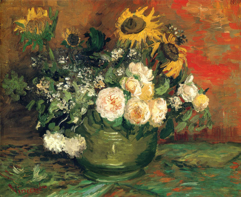 Vincent van Gogh. Bowl with sunflowers roses and other flowers