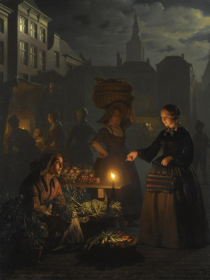 Petrus van Shendel. Vegetable market in the moonlight on the Grote markt in The Hague. 1855