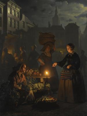 Petrus van Shendel. Vegetable market in the moonlight on the Grote markt in The Hague. 1855
