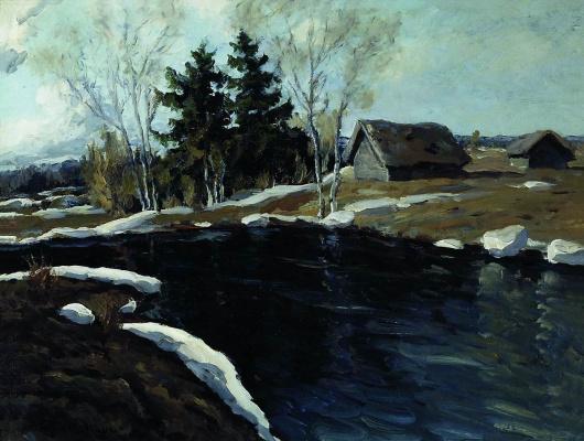 Manuil Khristoforovich Aladzhalov Russia 1862 - 1934. Spring. Black River. 1916