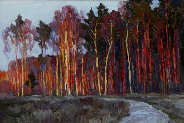 Oleg Borisovich Zakharov. Sunset in elk island after rain. ( sketch )