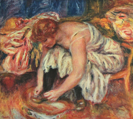 Pierre-Auguste Renoir. Woman tying shoes