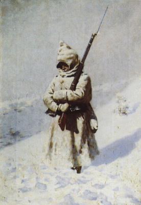 Василий Васильевич Верещагин. Солдат на снегу