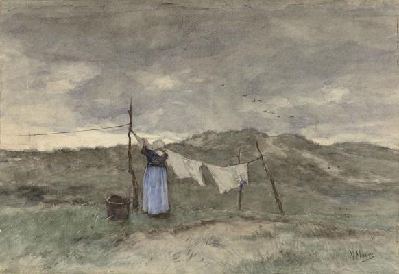 Антон Мауве. Женщина, развешивающая белье в дюнах