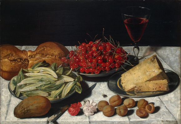 Josef Polep. Still life with cherries and cheese