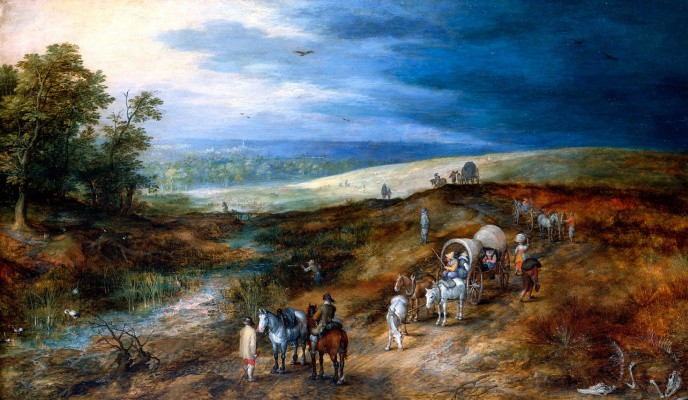 Jan Bruegel The Elder. Landscape with a hunter bittern