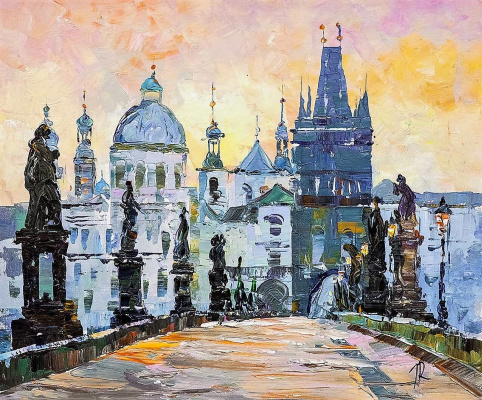 Jose Rodriguez. View of the Church of St. Francis of Assisi from Charles Bridge. Prague