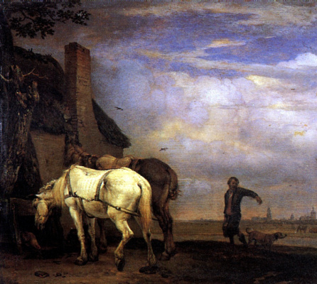 Paulus Potter. Two horses in front of the house