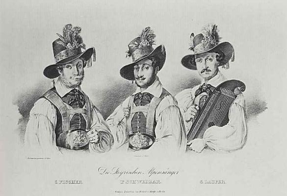 Adolf Friedrich Erdmann von Menzel. Portrait of three artists Tyrolean songs K. Fischer, P. and S. Svizera Laufer