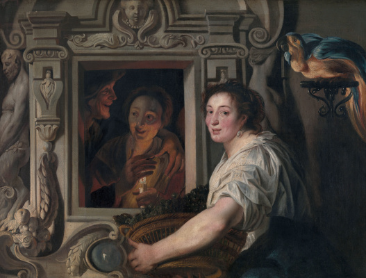 Jacob Jordaens. A maid with a basket of fruit and a pair of lovers