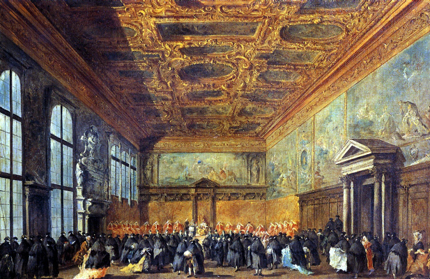 Francesco Guardi. Doge's Audience in the Council Hall in the Doge's Palace
